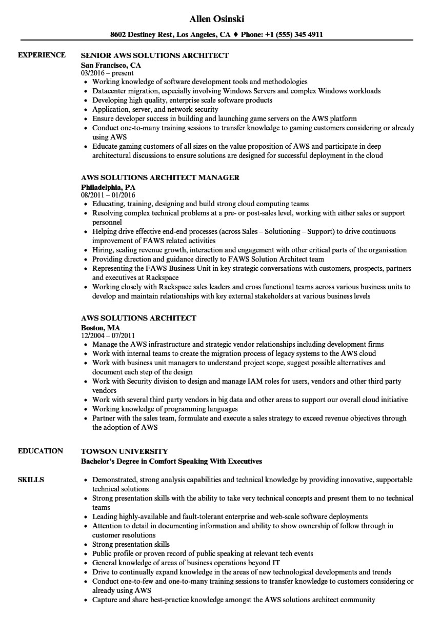 aws solutions architect resume sample