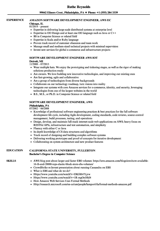 software development engineer aws resume sample