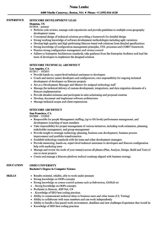Azure Basic Resume Sitecore Resume Samples Velvet Jobs