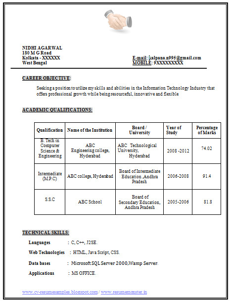 B.tech Professional Resume Example Template Of Excellent Fresher B Tech Resume Sample