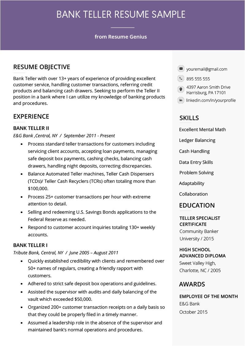 Bank Teller Resume Samples Bank Teller Resume Sample Writing Tips Resume Genius