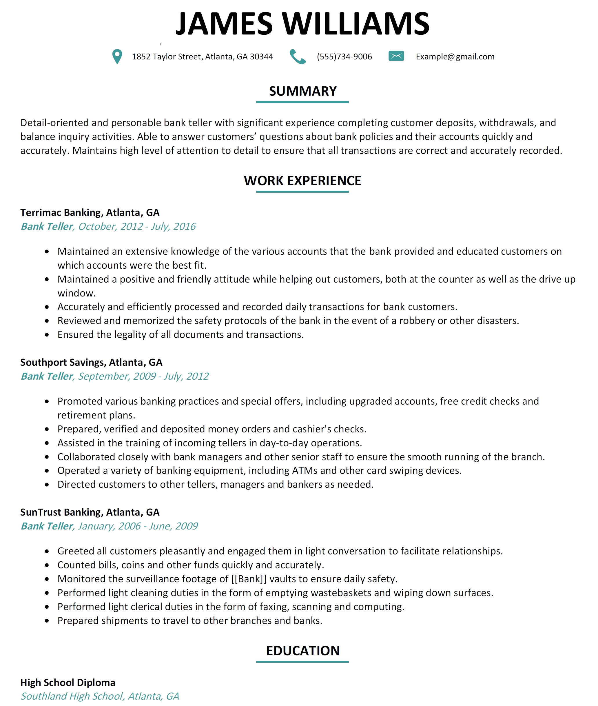 sample resume for bank jobs with no experience