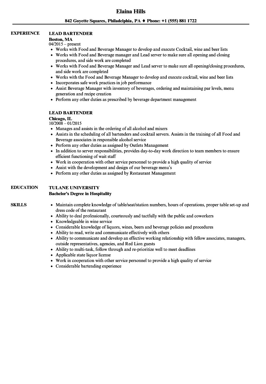 lead bartender resume sample