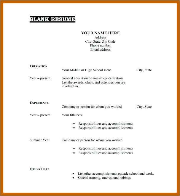 9 10 blank basic resume templates