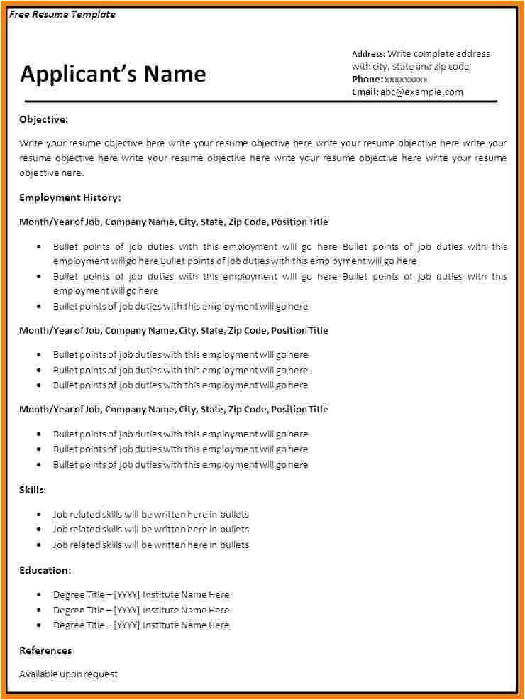 8 blank basic resume templates