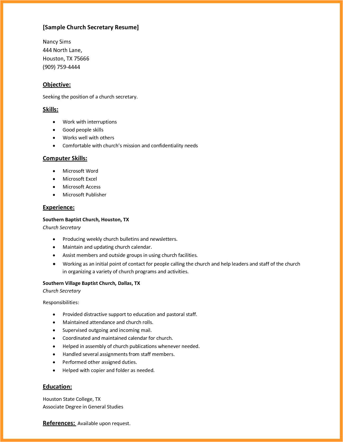 basic computer skills resume sample