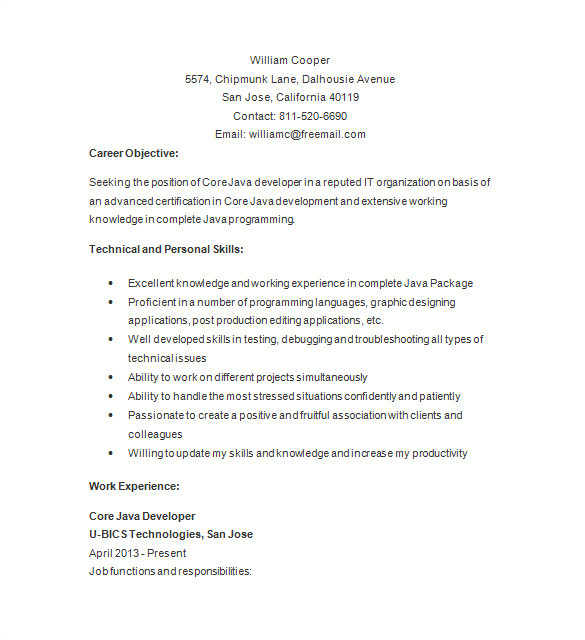 Basic Java Resume Java Developer Resume Template 14 Free Samples