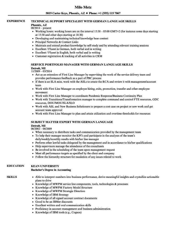 german language resume sample