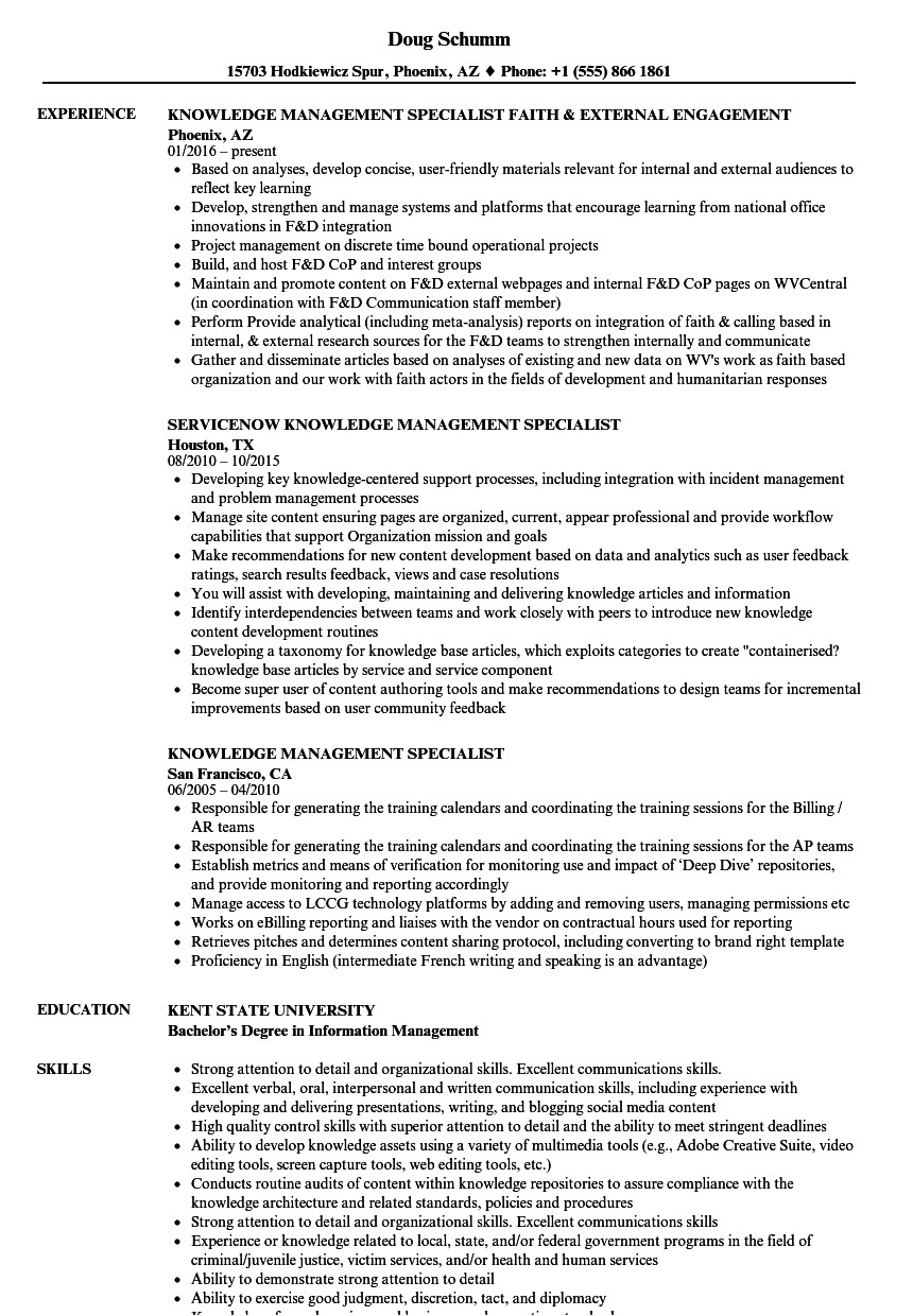 knowledge management specialist resume sample