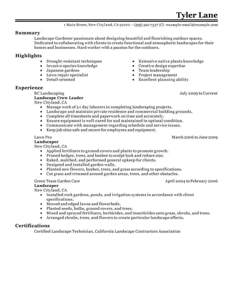 Basic Landscaping Resume Best Landscaping Resume Example Livecareer