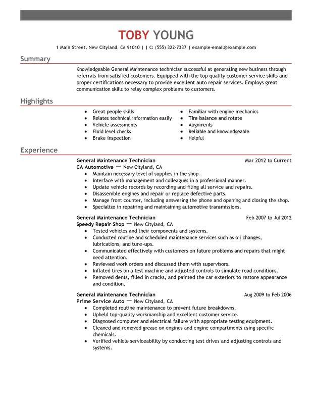 general maintenance technician resume sample