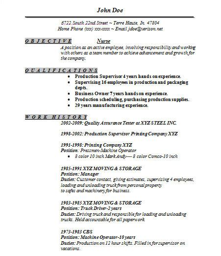 Basic Nursing Resume Sample Basic Resume 21 Documents In Word