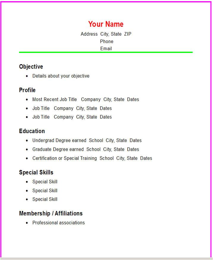 Basic Resume Building Basic Resume Template E Commerce