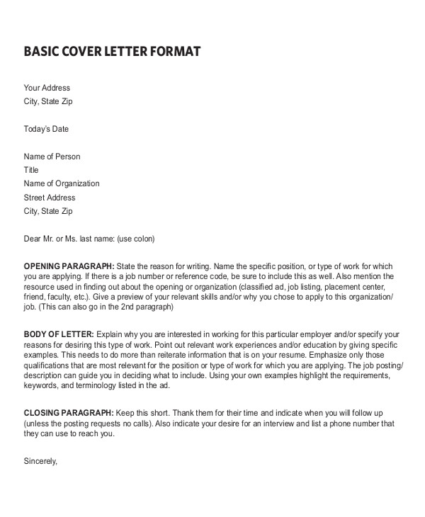 Basic Resume Cover Letter Examples Sample Resume Cover Letter format 6 Documents In Pdf Word