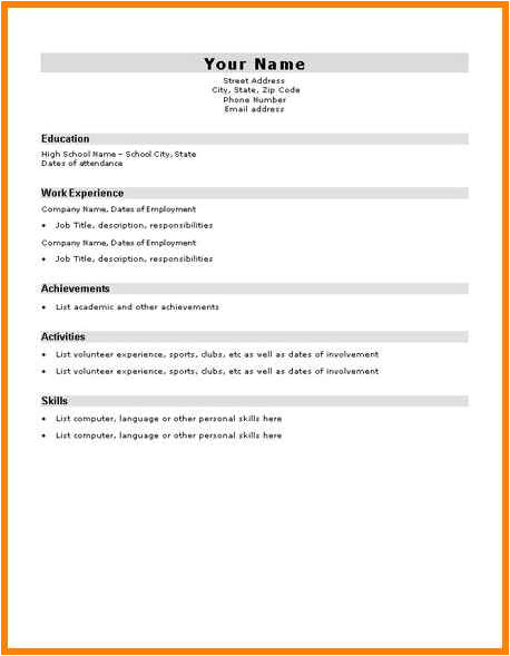 Basic Resume Examples for Students 10 Easy Cv Template for Students Dragon Fire Defense