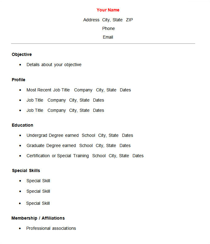 Basic Resume Examples Word 70 Basic Resume Templates Pdf Doc Psd Free