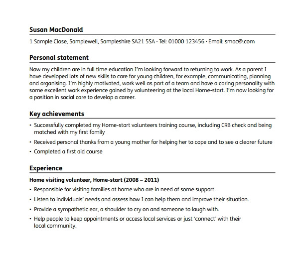 basic resume for a young person