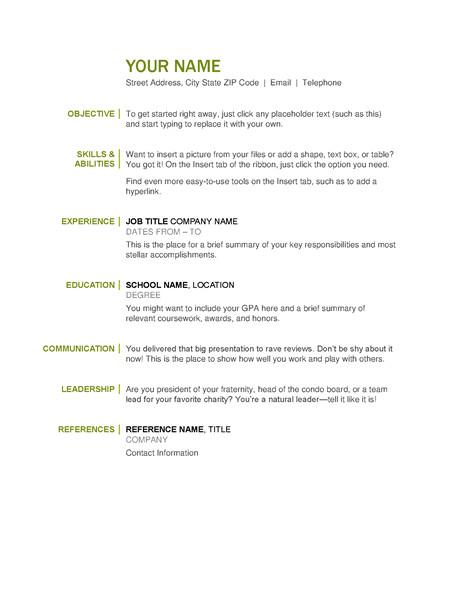 basic resume tm03456621