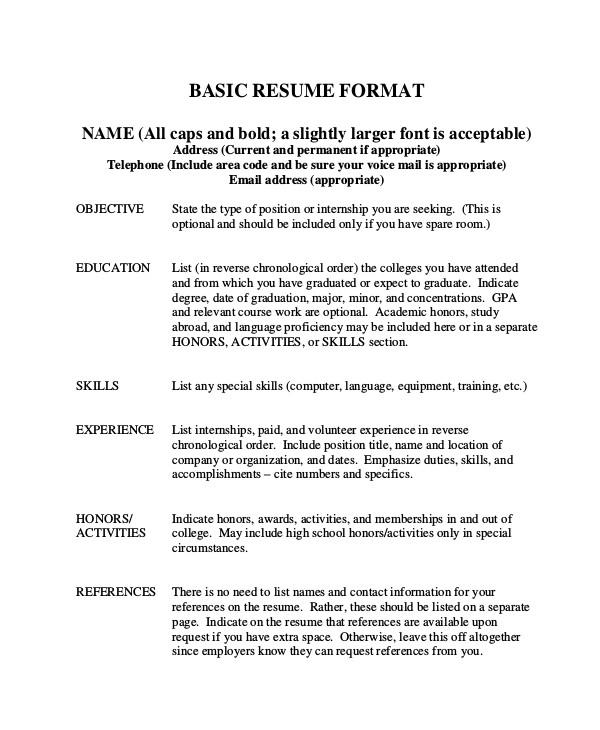 Basic Resume format Basic Resume Samples Examples Templates 8 Documents