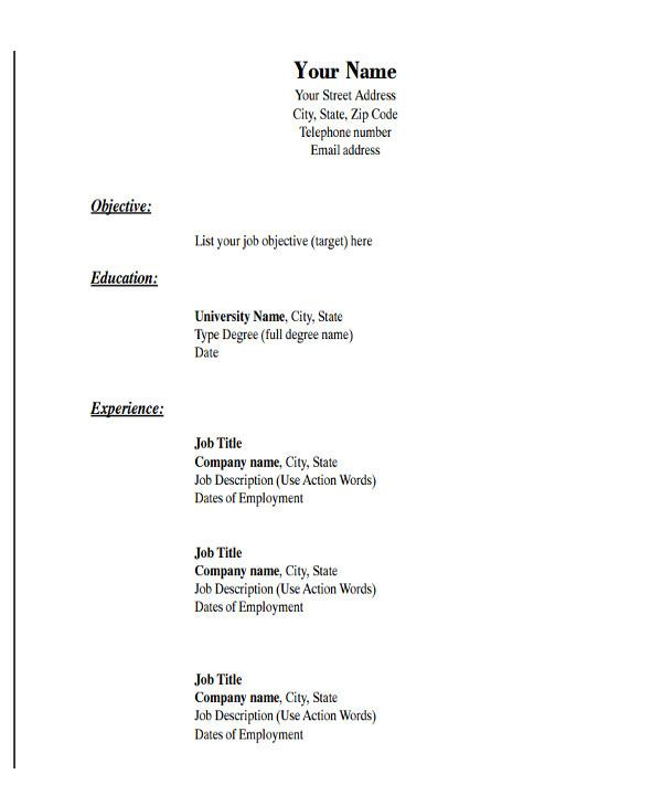 Basic Resume format Pdf 19 Basic Resume format Templates Pdf Doc Free