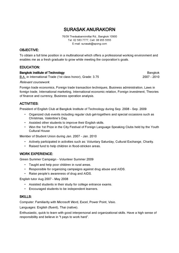 objective basic resume samples for thailand employer
