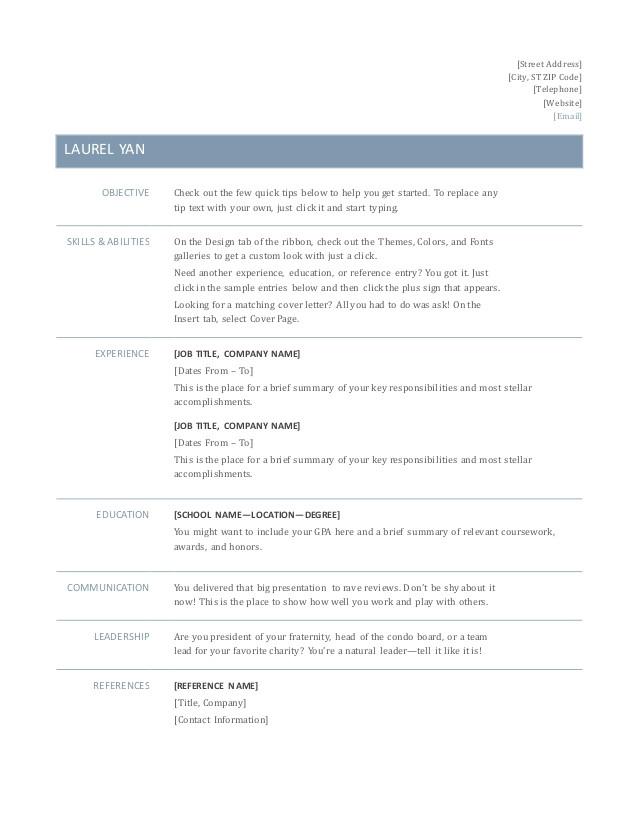 Basic Resume Guide Basic Resume Word Test