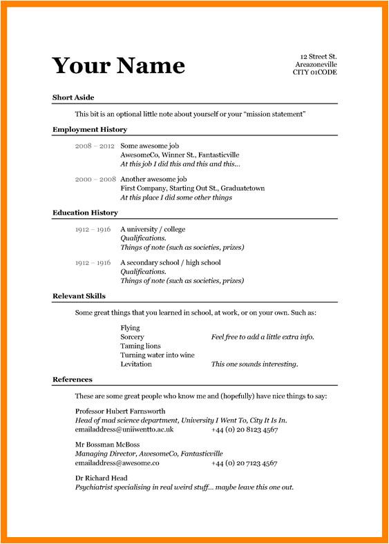 7 cv template basic