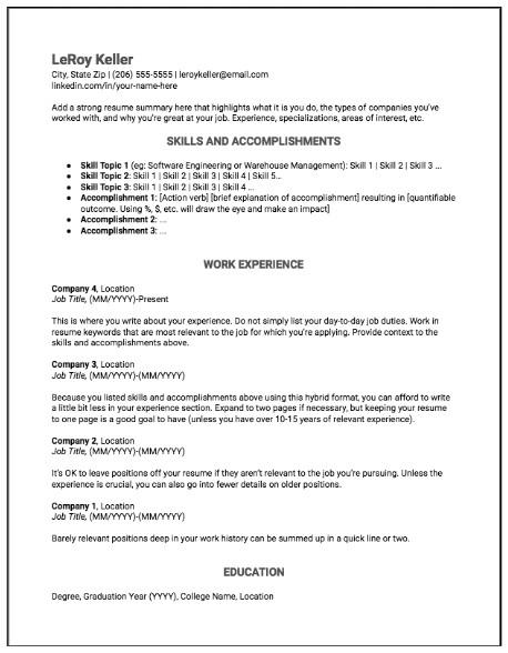 hybrid resumes best resume format