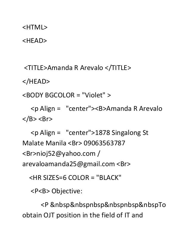 html resume codes webprog prelim