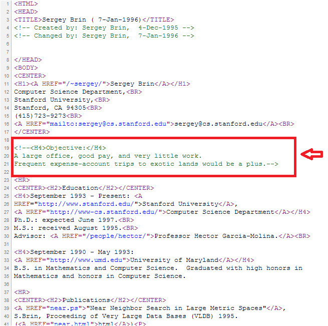 sergey brin masks career objective using html code in his first resume