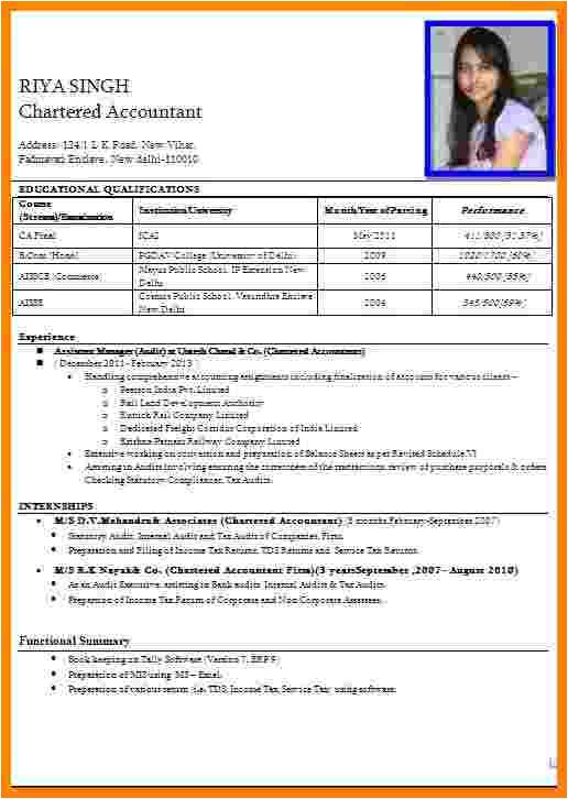 5 cv formt for apply job in bank