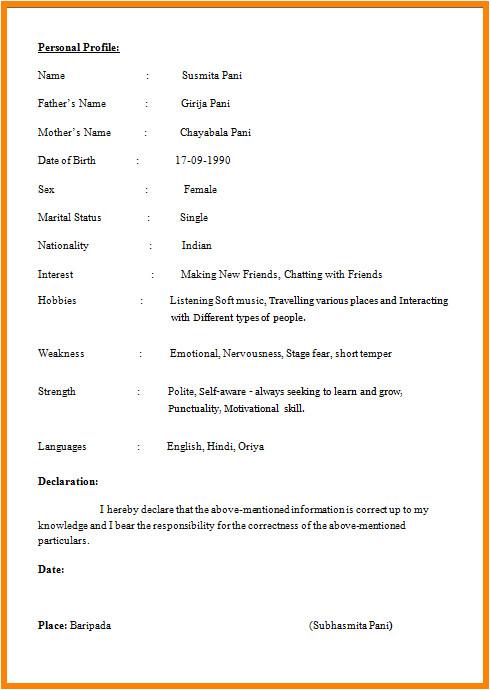 Basic Resume India Image Result for Resume format In India Biodata format