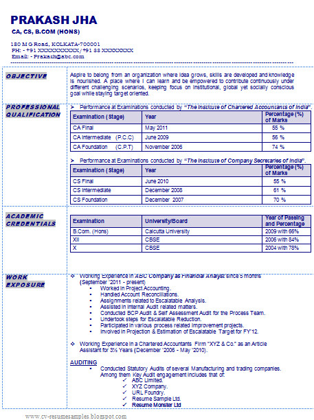 resume sample of chartered accountant