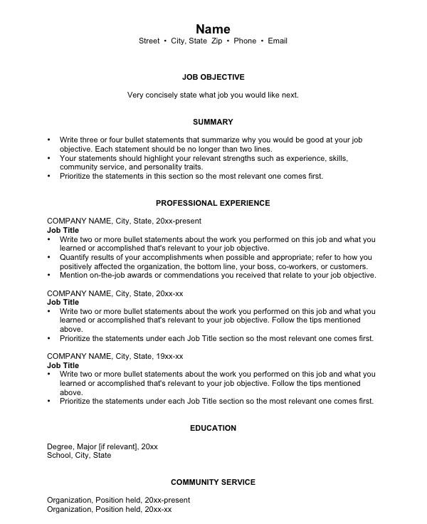 6 basic chronological resume templates