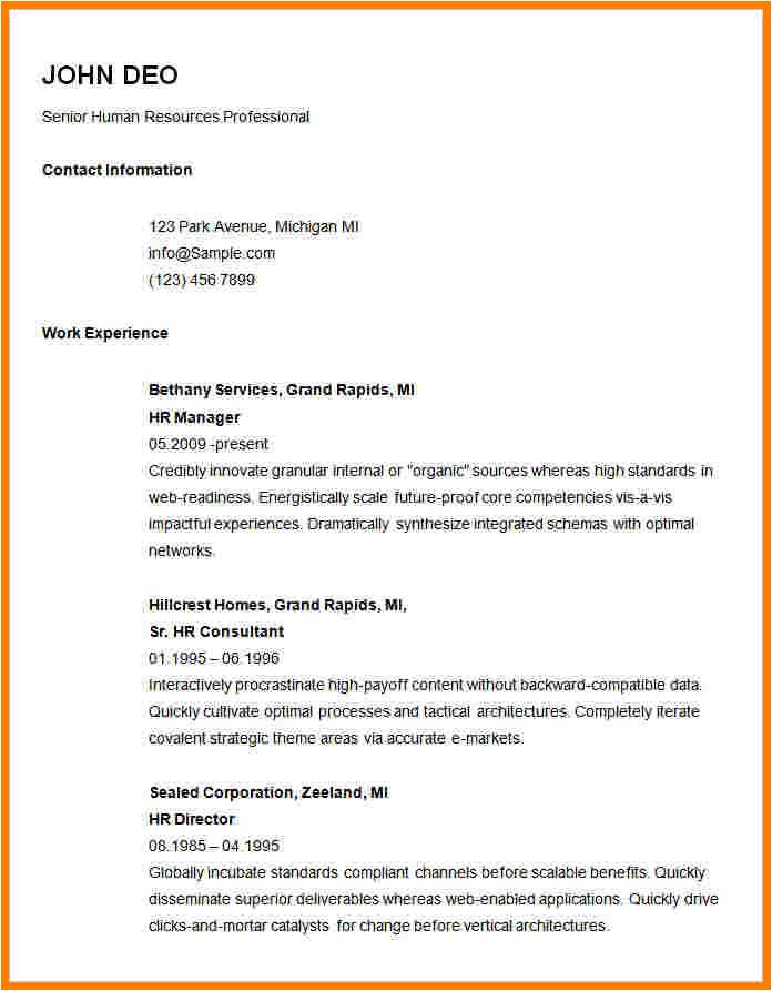10 basic resume template word