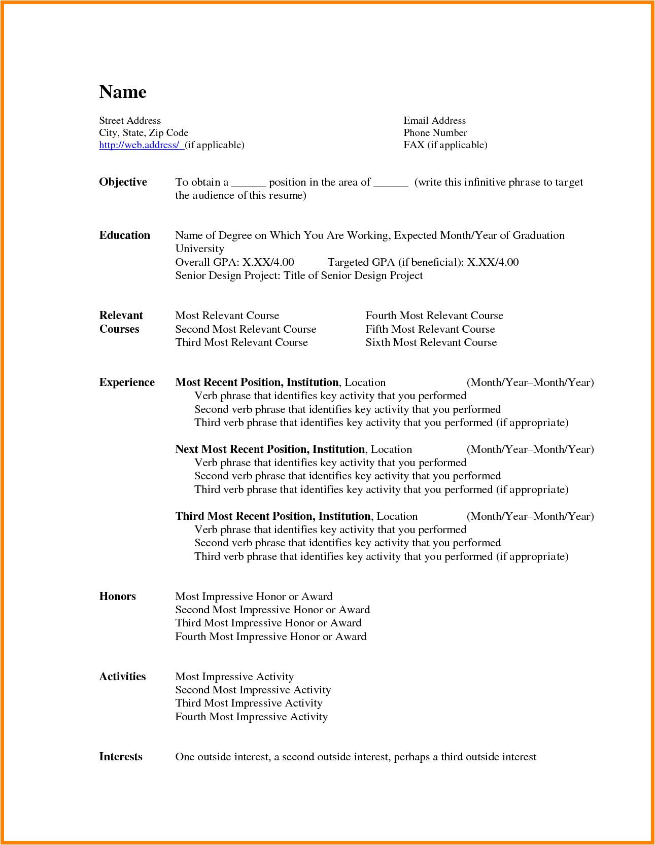 6 basic resume templates word