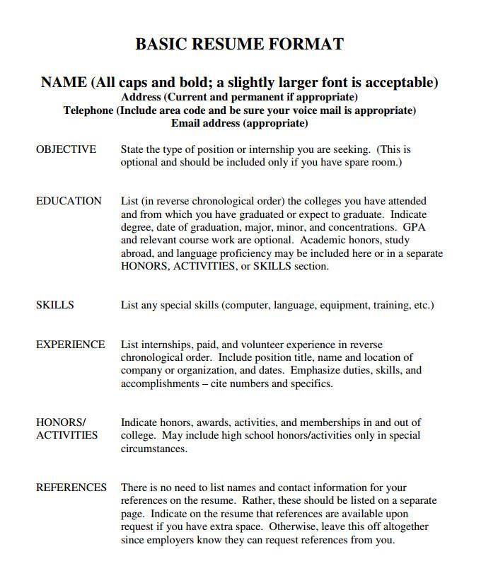 Basic Resume Look 70 Basic Resume Templates Pdf Doc Psd Free