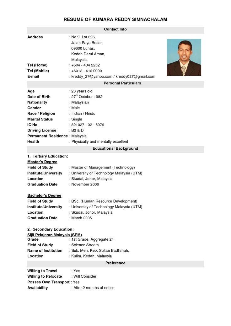 Basic Resume Malaysia Best Resume Template Malaysia Resumecurriculum Vitae