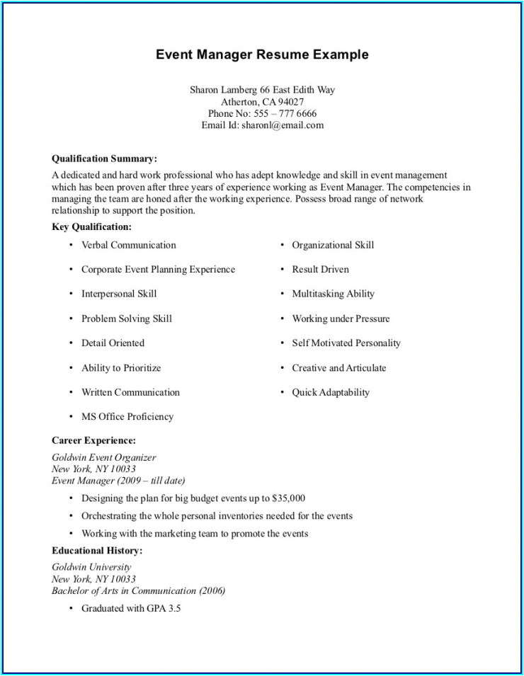 Basic Resume With No Work Experience