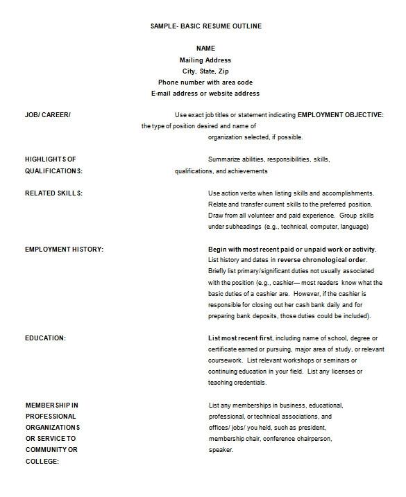 sample resume outline