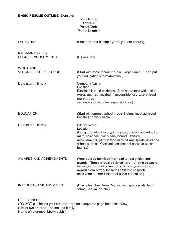 Basic Resume Outline Sample Resume Outline 8 Examples In Pdf