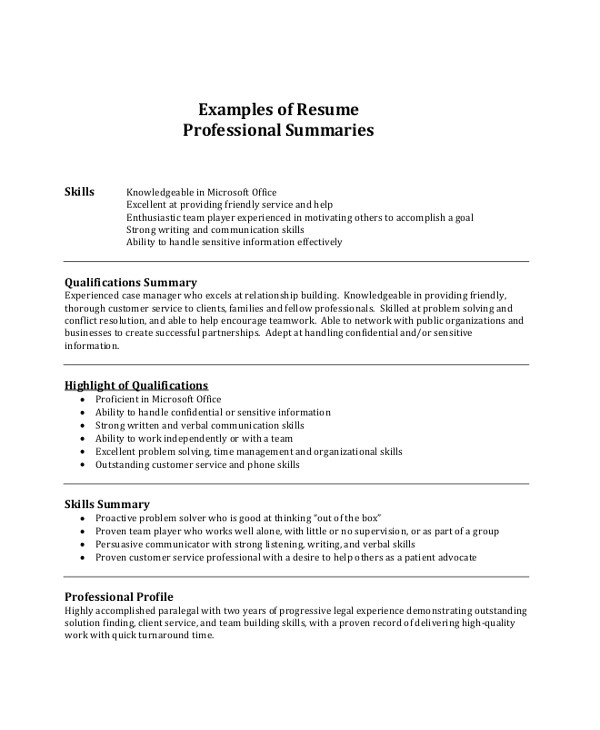 Basic Resume Professional Summary 8 Resume Summary Samples Examples Templates