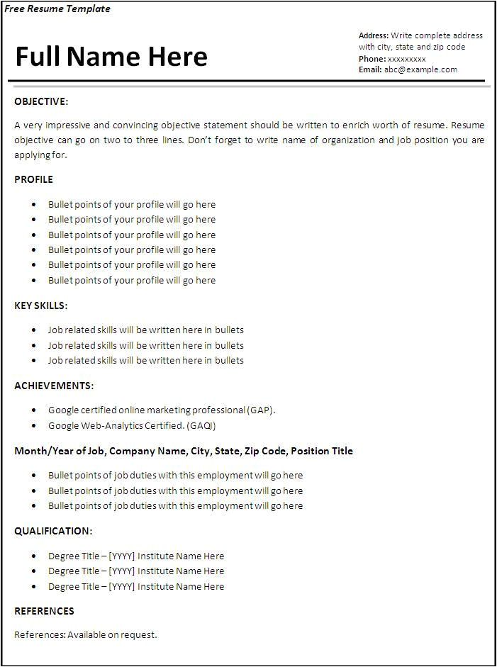 11 cv formate for job