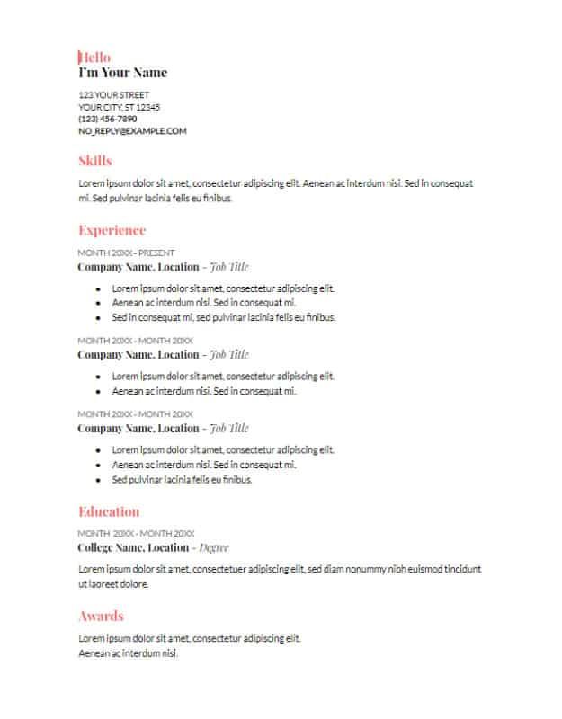 google docs resume template