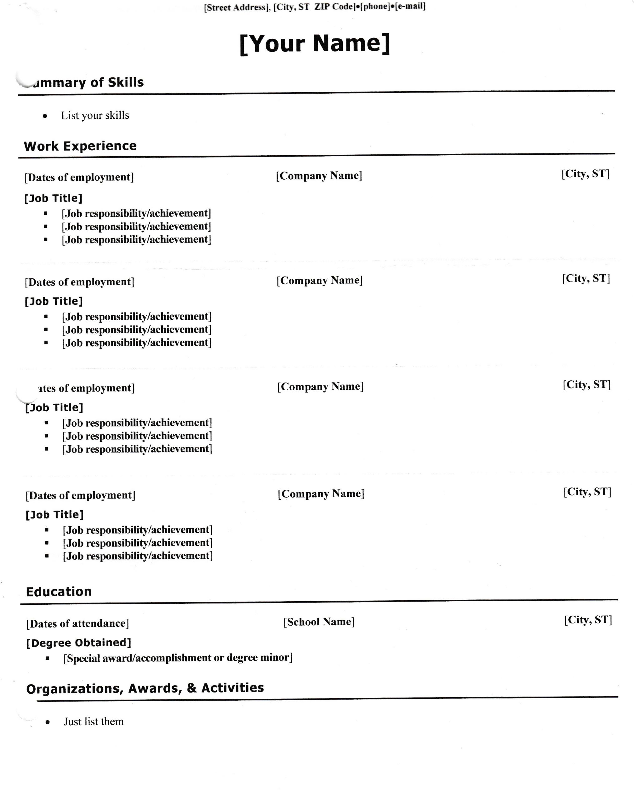 Basic Resume Worksheet Tips for Writing Your Resume Caroline and Elly 39 S Magical