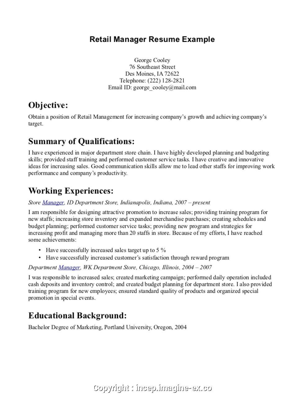 simple basic retail resume