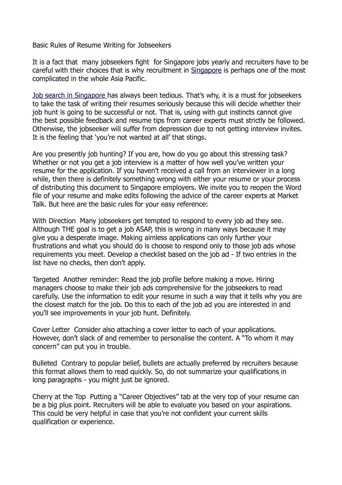Basic Rules Of Resume Writing Calameo Basic Rules Of Resume Writing for Jobseekers