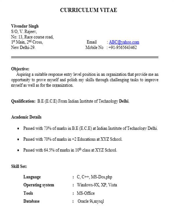resume format samples