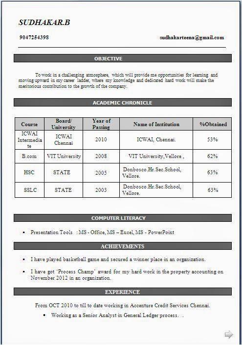bcom fresher resume sample in doc