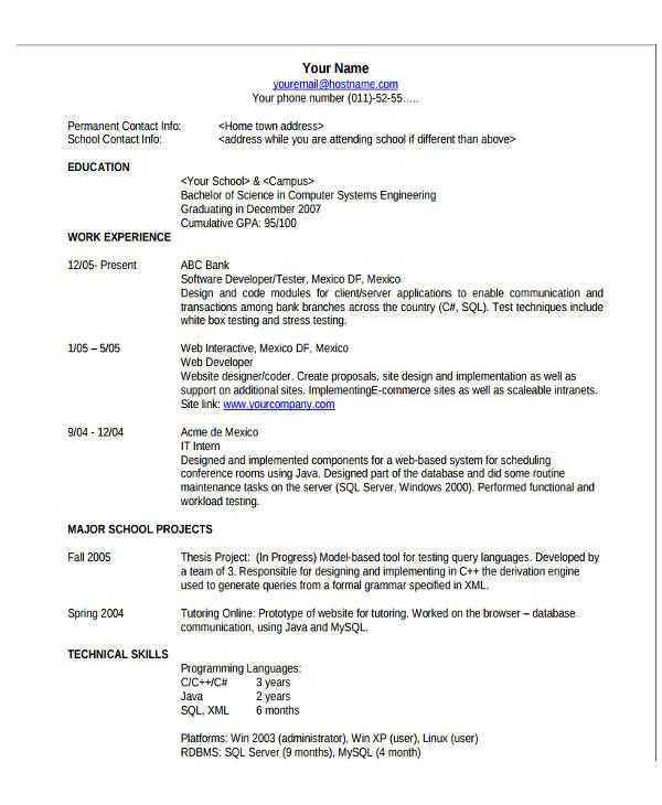basic resume format template